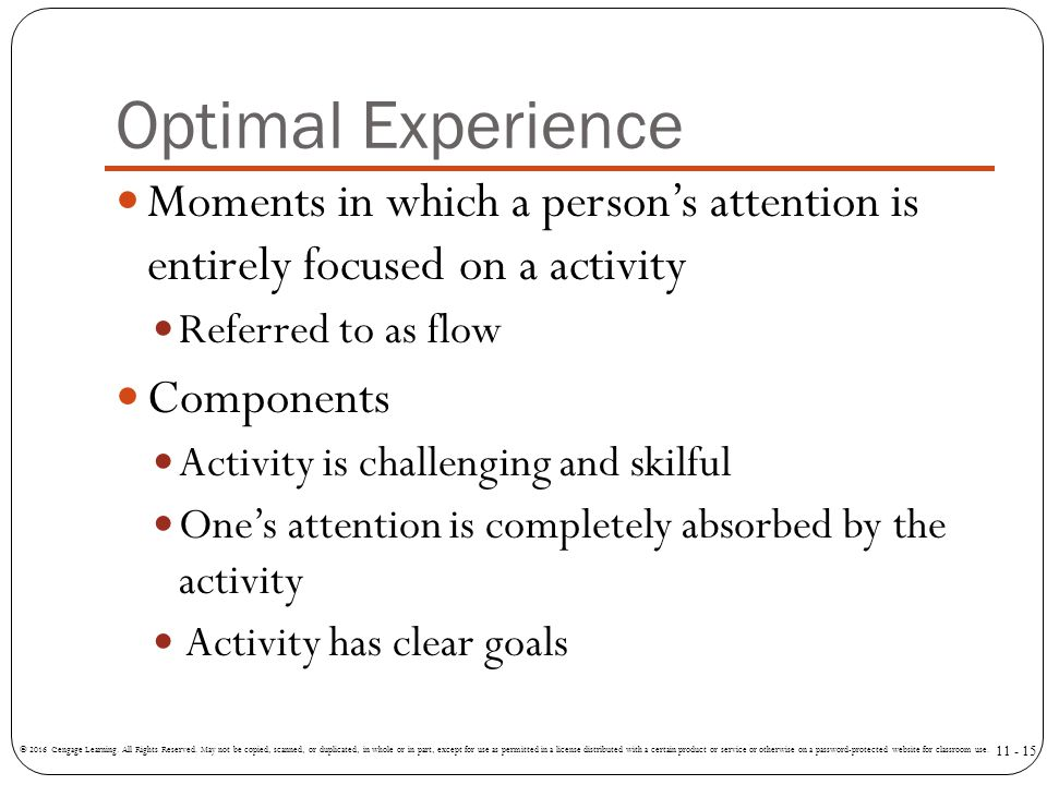 Optimal Experience Moments in which a person's attention is entirely focused on a activity. Referred to as flow.