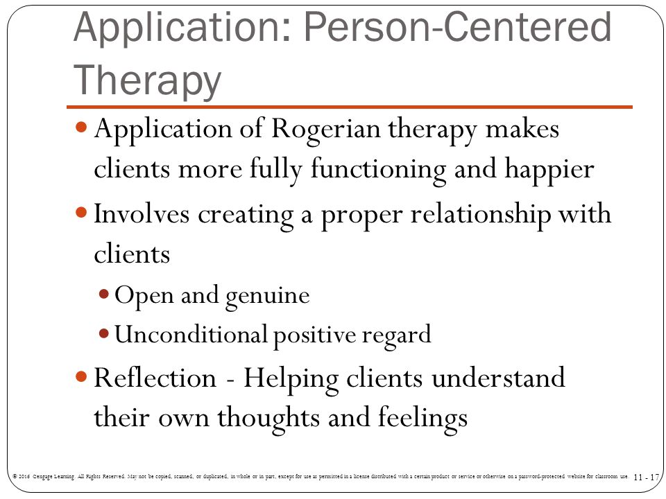 Application: Person-Centered Therapy