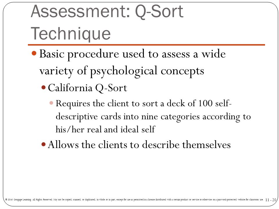 Assessment: Q-Sort Technique