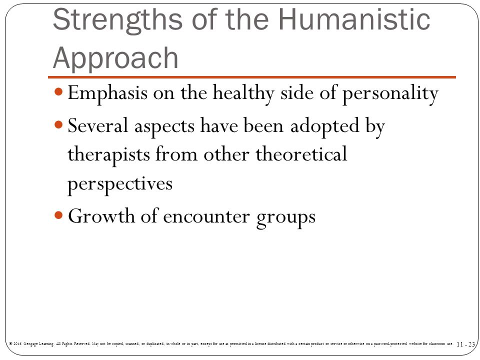 Strengths of the Humanistic Approach