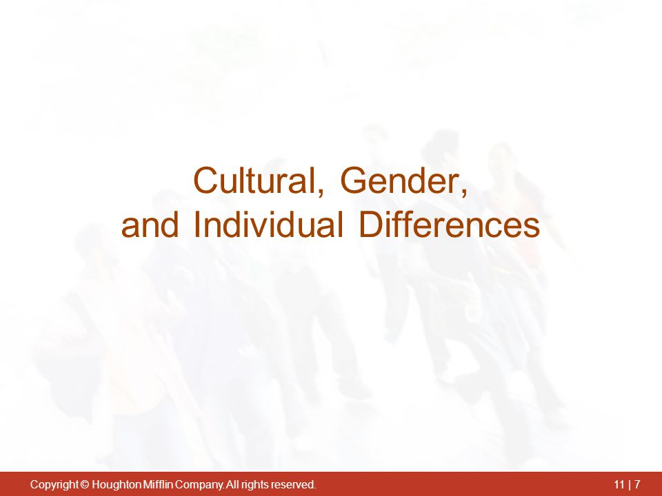 Cultural, Gender, and Individual Differences