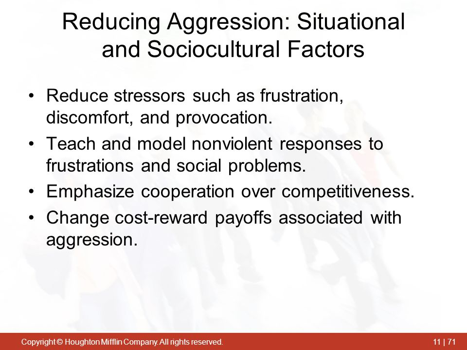 Reducing Aggression: Situational and Sociocultural Factors