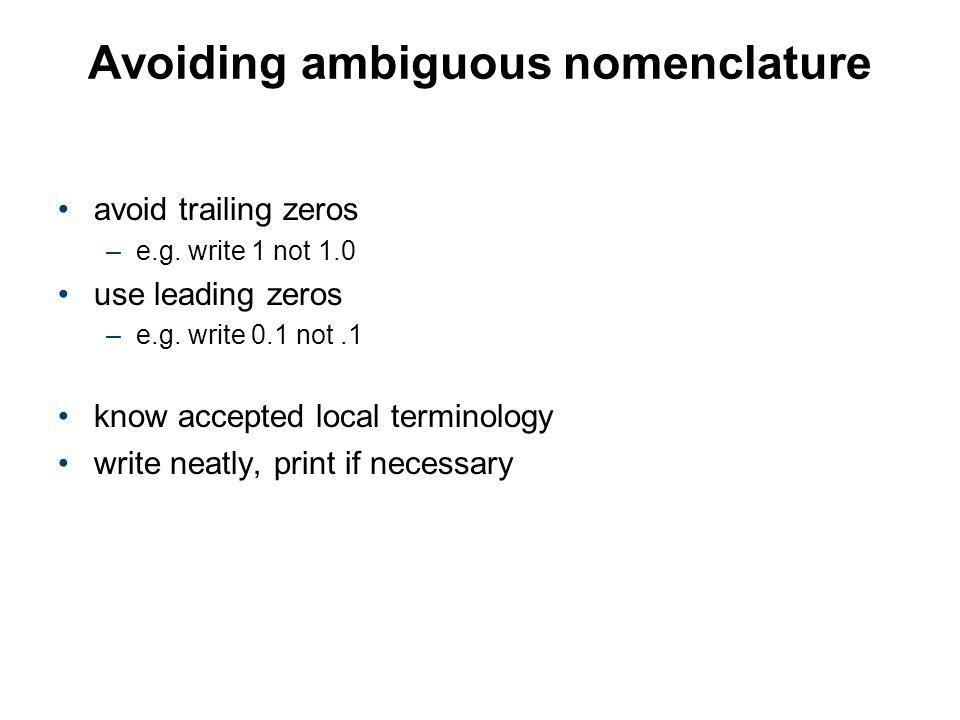 Avoiding ambiguous nomenclature