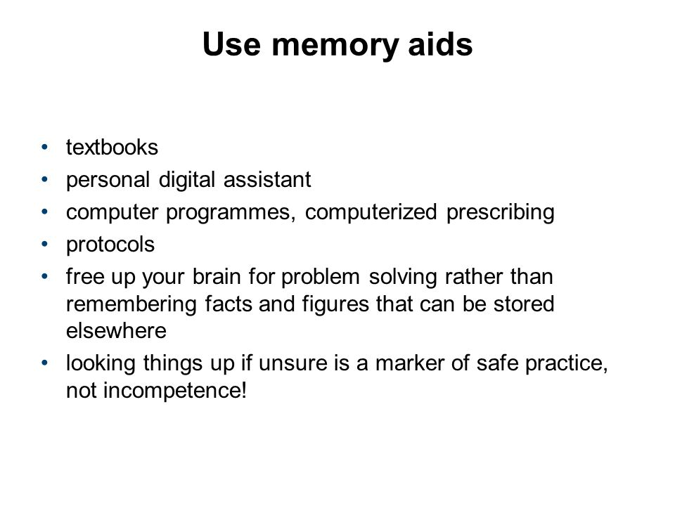 Use memory aids textbooks personal digital assistant