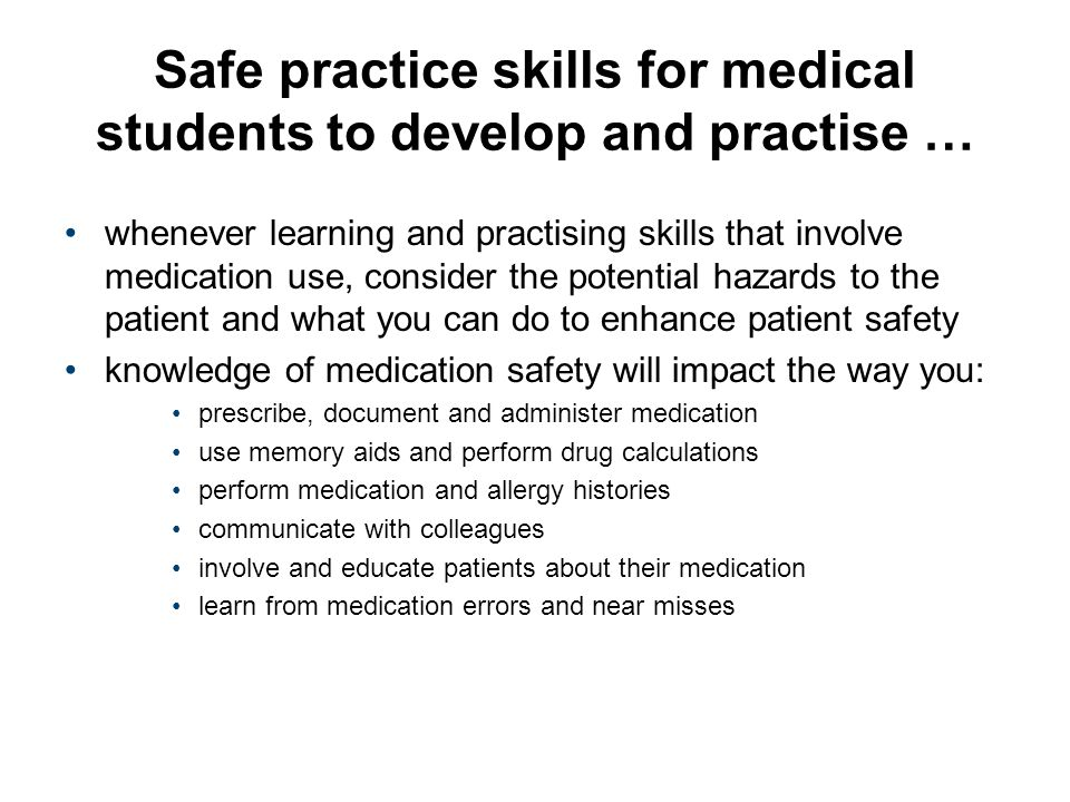 Safe practice skills for medical students to develop and practise …