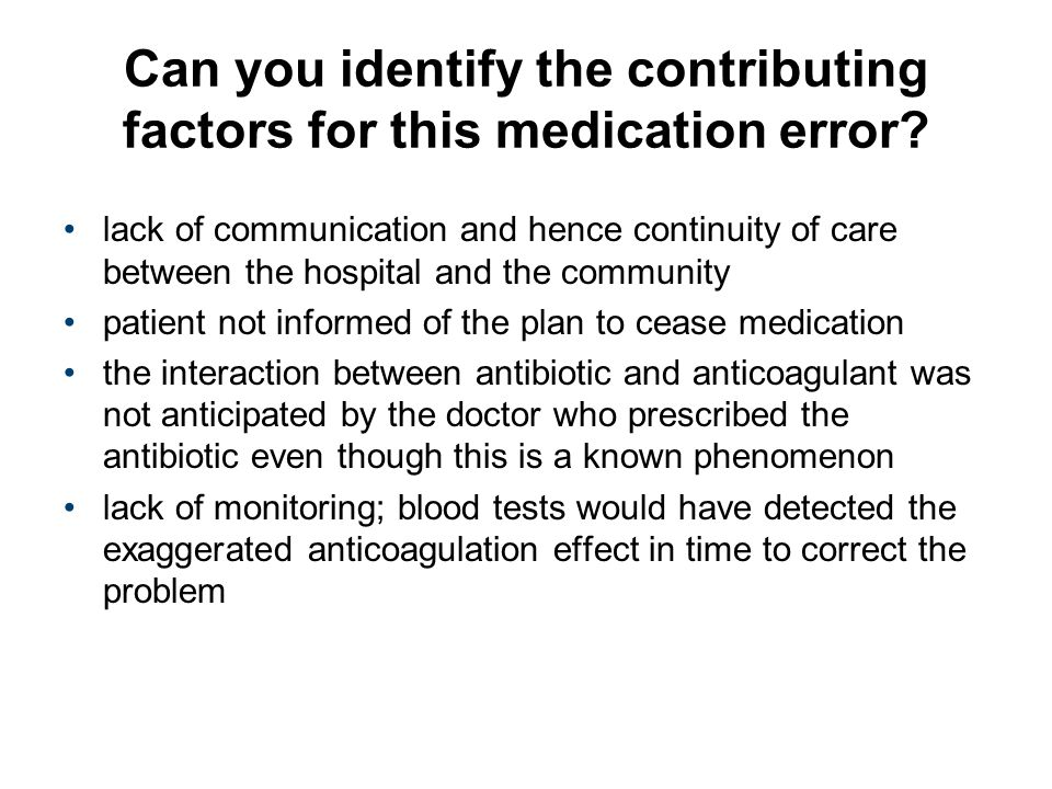 Can you identify the contributing factors for this medication error