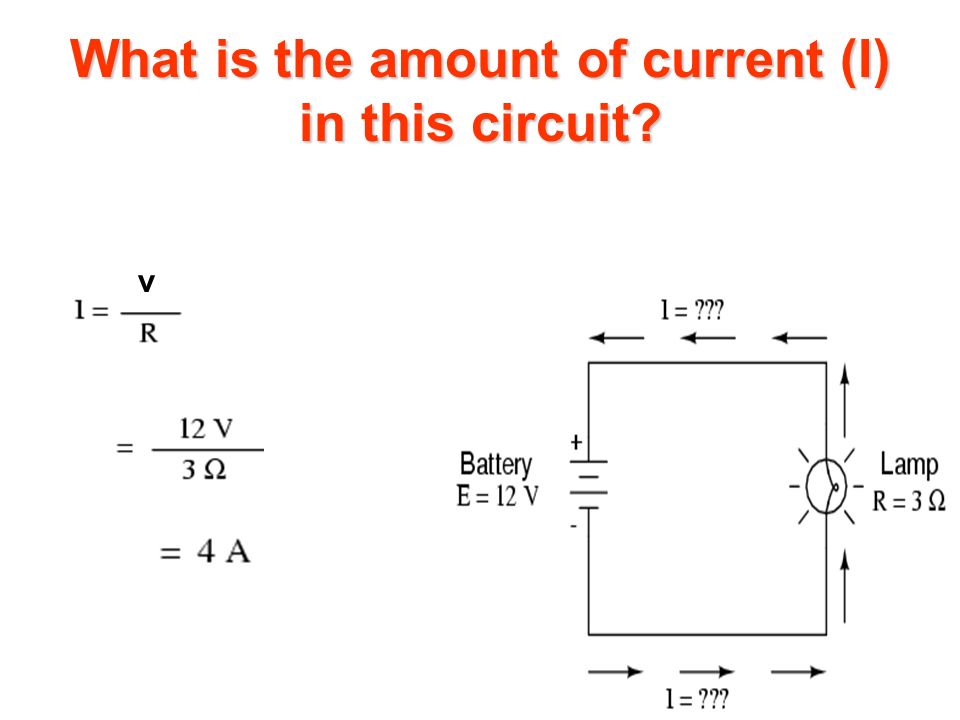 What is the amount of current (I) in this circuit