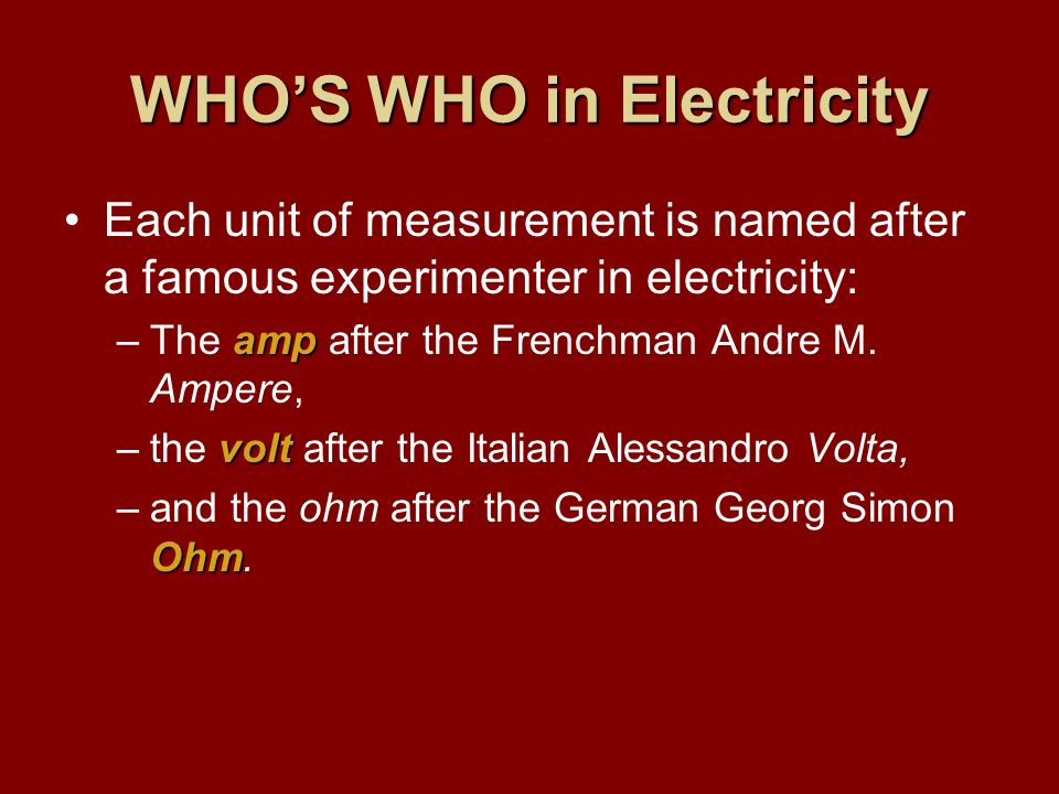 WHO'S WHO in Electricity