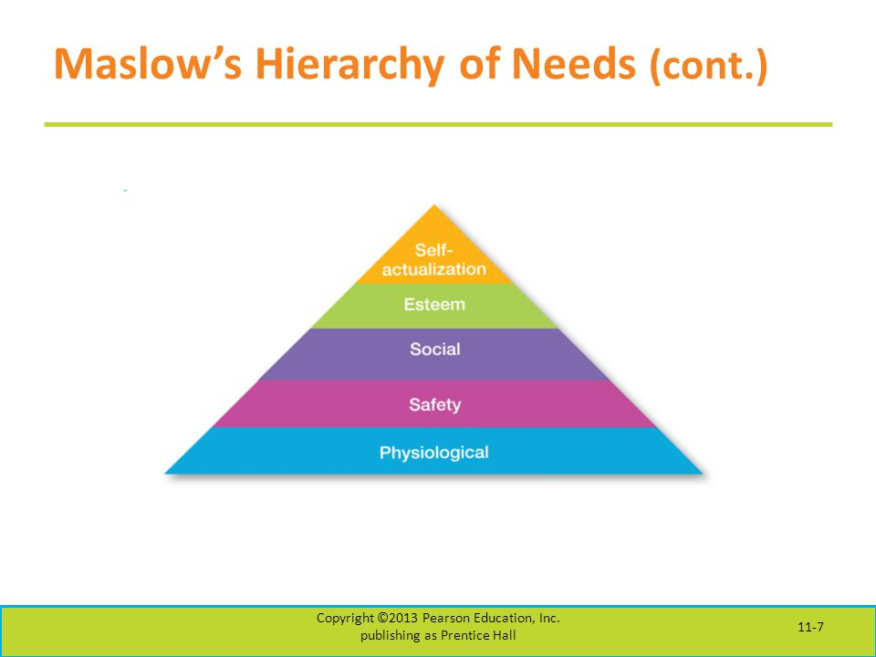 Maslow's Hierarchy of Needs (cont.)