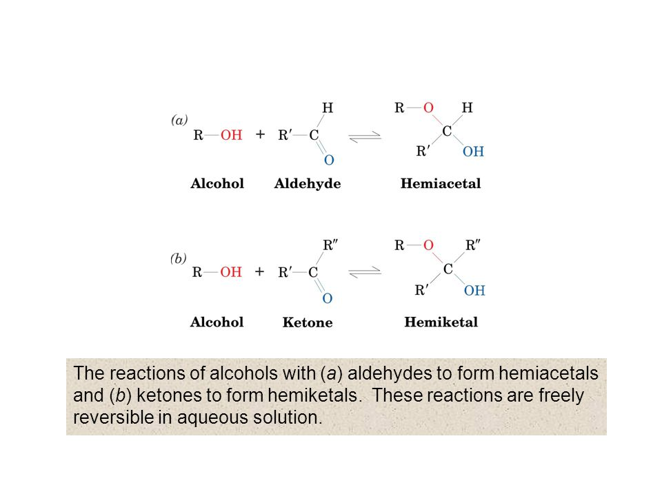 The reactions of alcohols with (a) aldehydes to form hemiacetals and (b) ketones to form hemiketals.