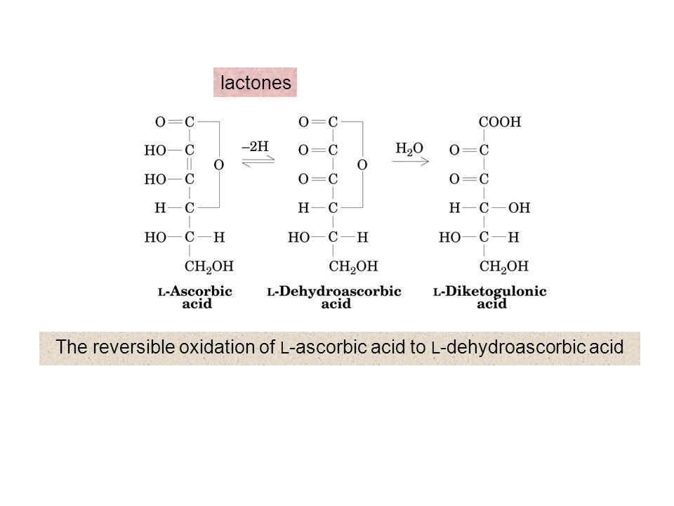 The reversible oxidation of L-ascorbic acid to L-dehydroascorbic acid