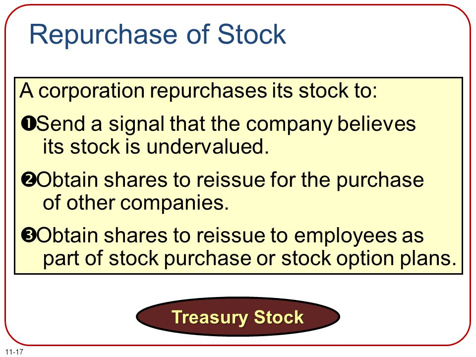 Repurchase of Stock A corporation repurchases its stock to: