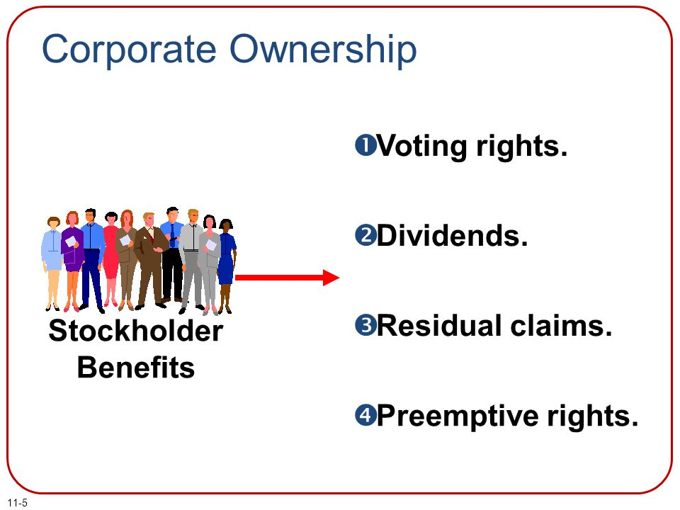 Corporate Ownership Voting rights. Dividends. Residual claims.