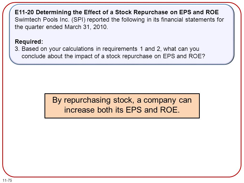 By repurchasing stock, a company can increase both its EPS and ROE.
