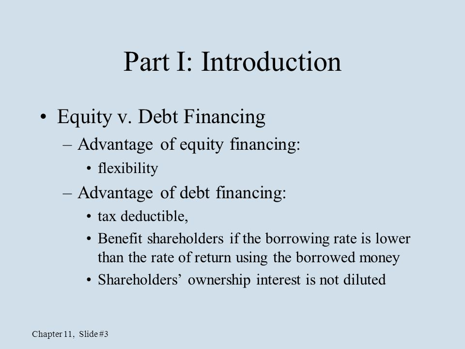 Part I: Introduction Equity v. Debt Financing