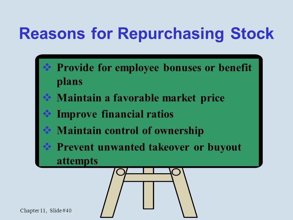 Reasons for Repurchasing Stock