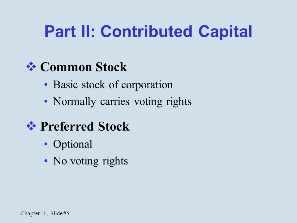 Part II: Contributed Capital