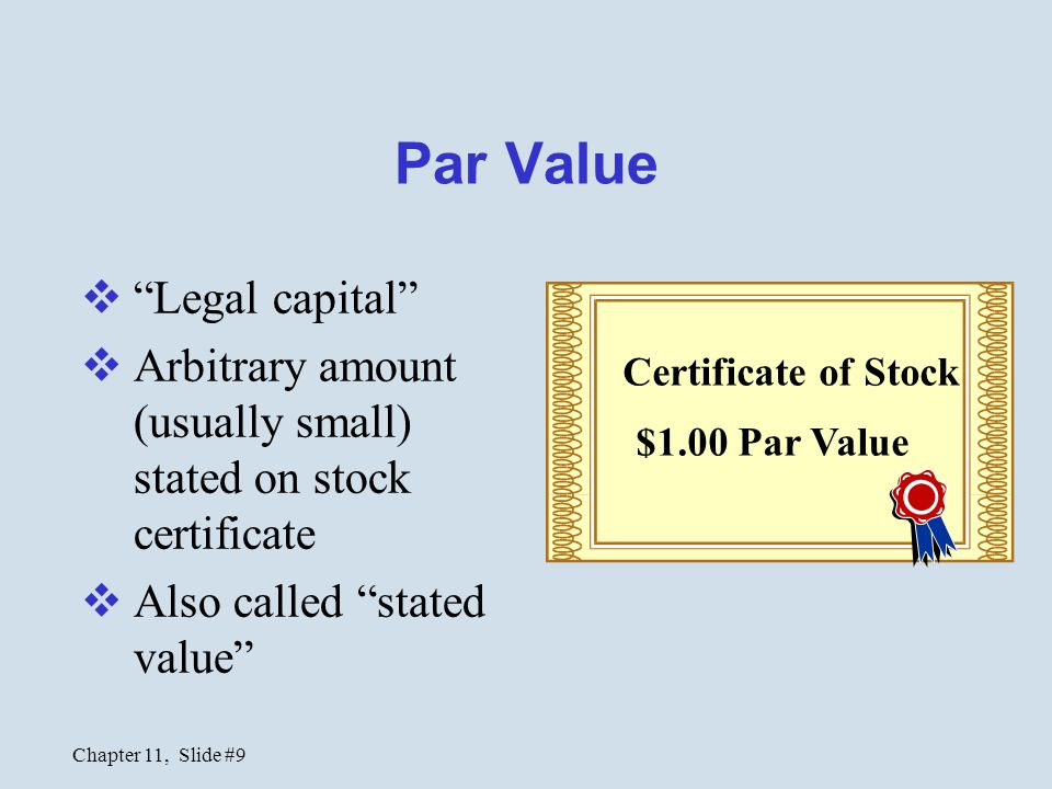 Par Value Legal capital