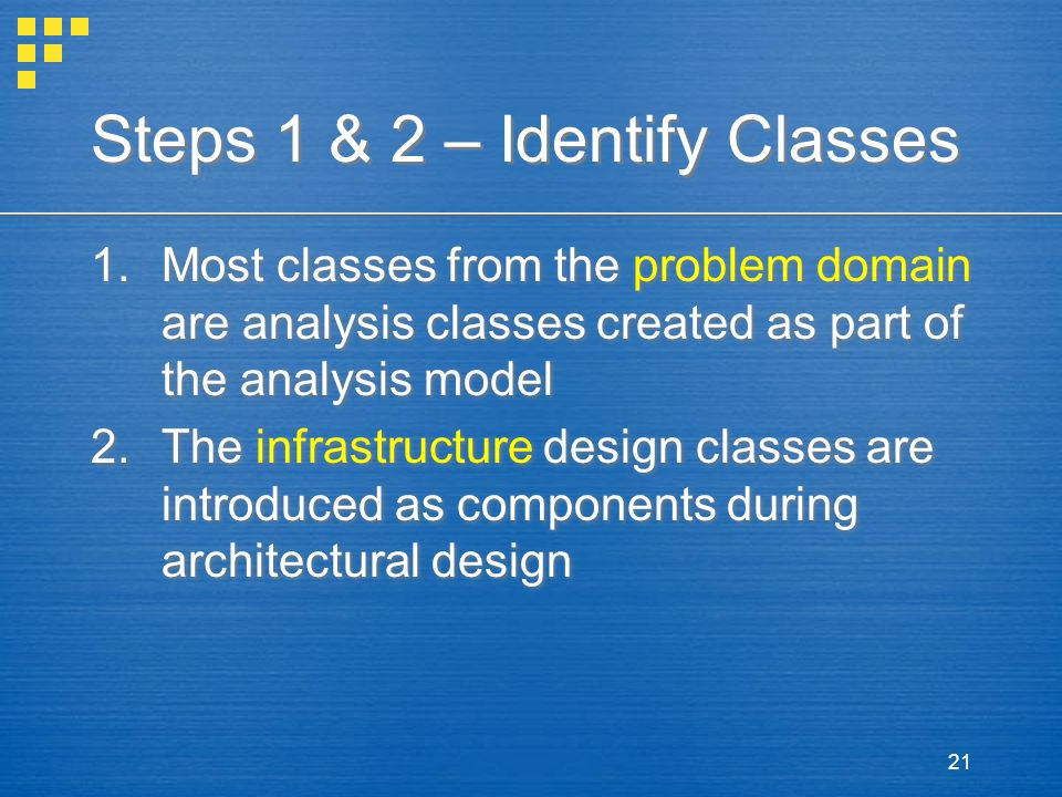 Steps 1 & 2 – Identify Classes