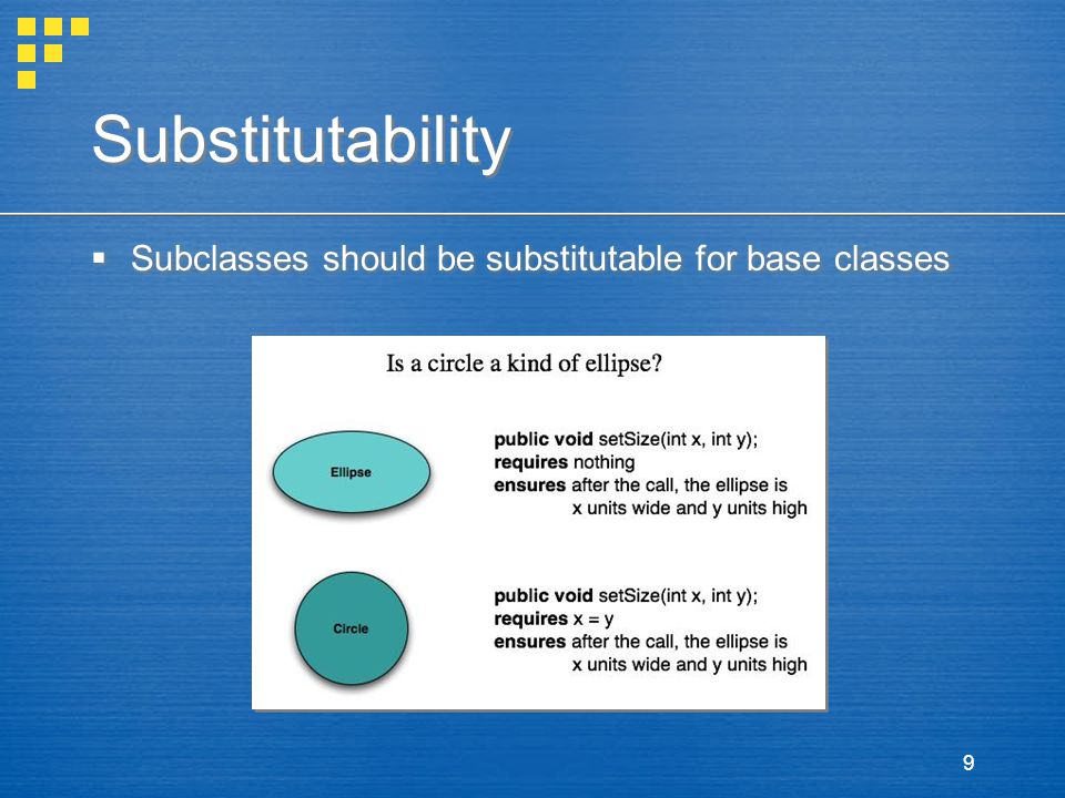 Substitutability Subclasses should be substitutable for base classes