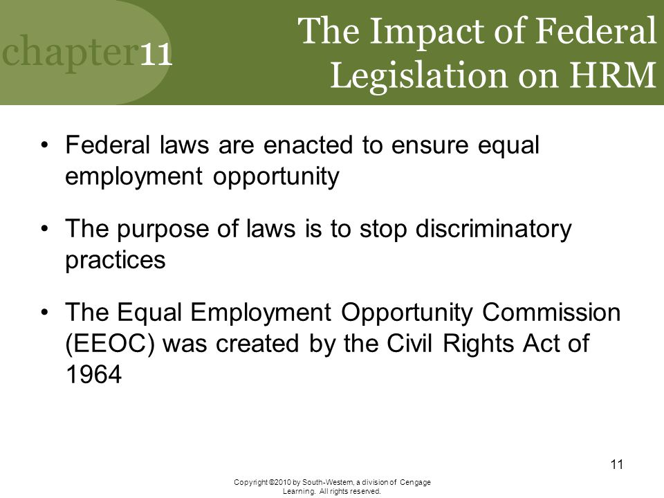 The Impact of Federal Legislation on HRM