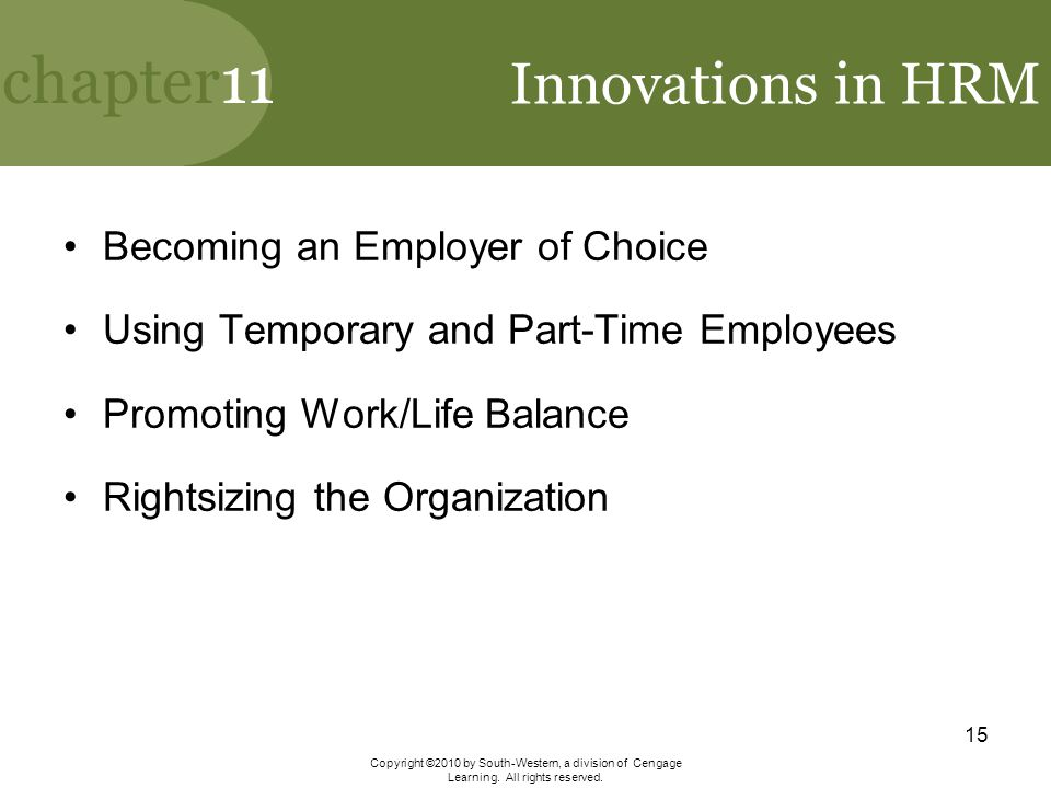 Innovations in HRM Becoming an Employer of Choice