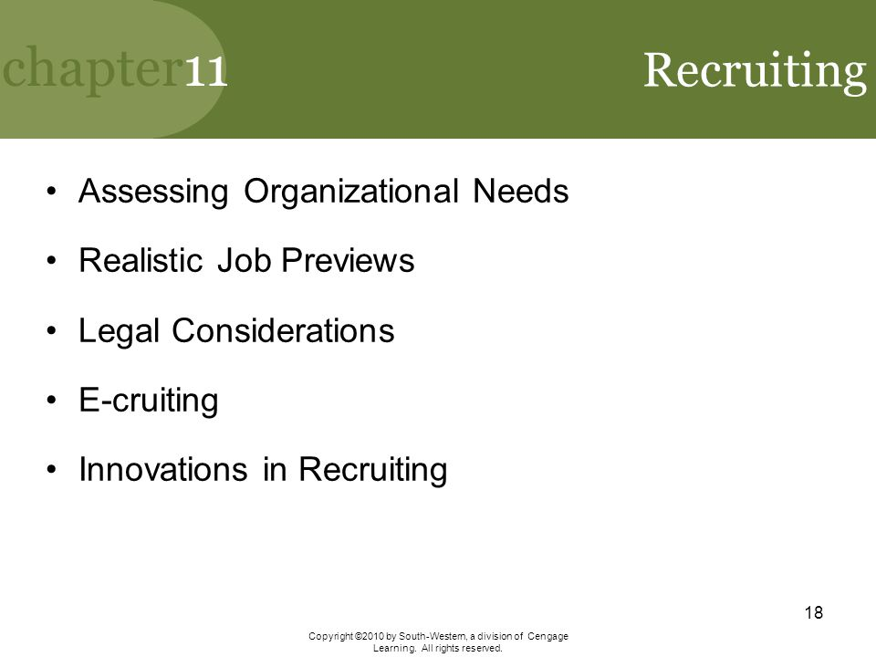 Recruiting Assessing Organizational Needs Realistic Job Previews