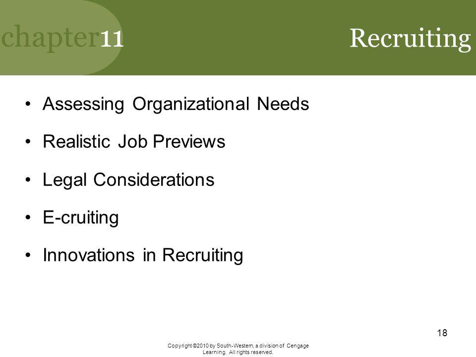 Recruiting Assessing Organizational Needs Realistic Job Previews