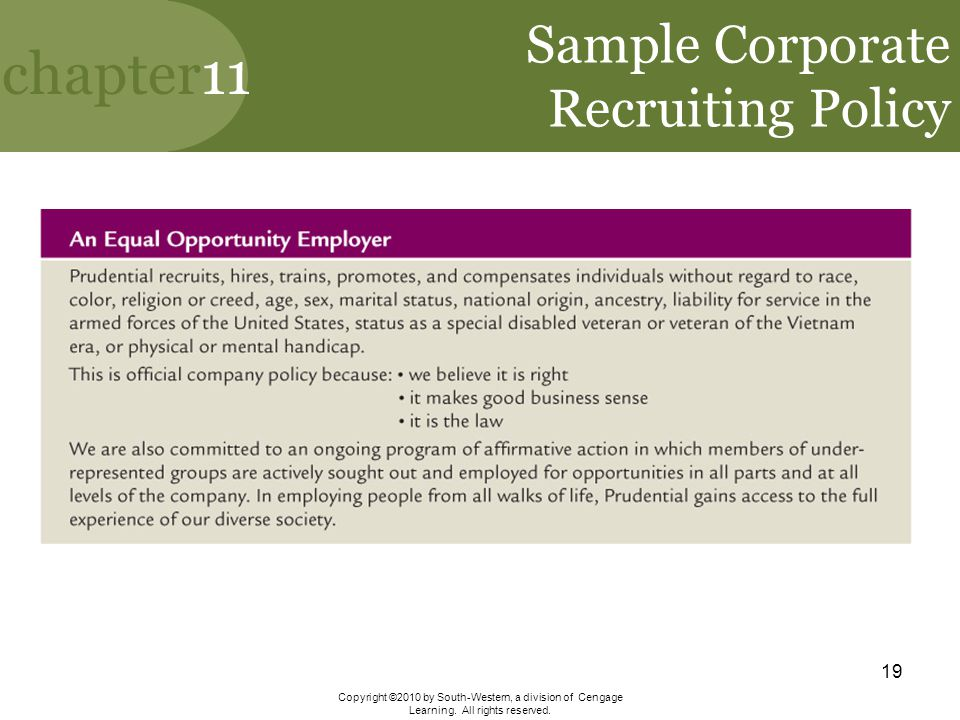 Sample Corporate Recruiting Policy
