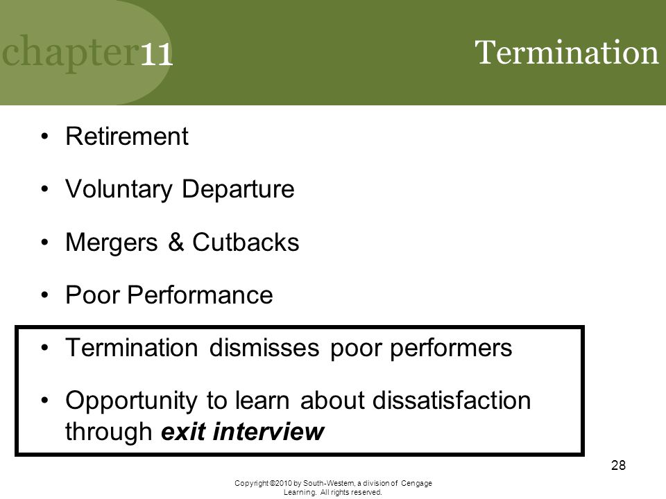 Termination Retirement Voluntary Departure Mergers & Cutbacks