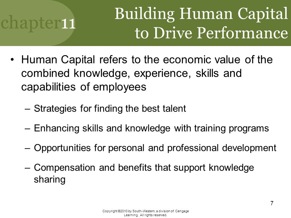 Building Human Capital to Drive Performance