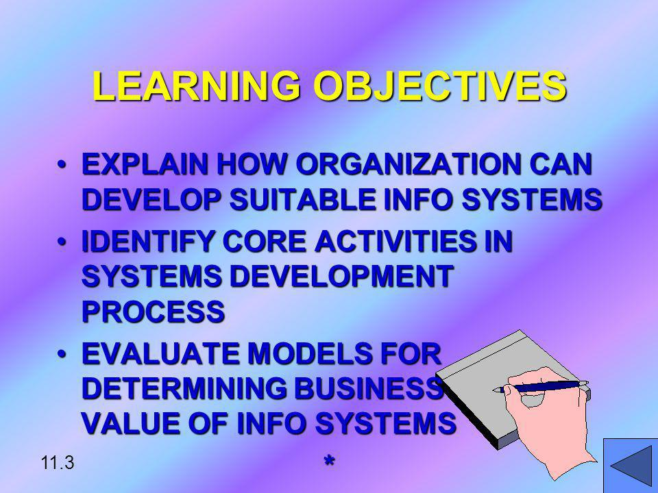 LEARNING OBJECTIVES EXPLAIN HOW ORGANIZATION CAN DEVELOP SUITABLE INFO SYSTEMS. IDENTIFY CORE ACTIVITIES IN SYSTEMS DEVELOPMENT PROCESS.