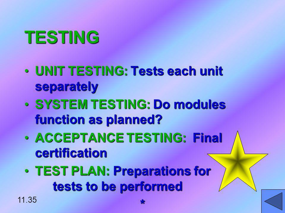 TESTING UNIT TESTING: Tests each unit separately