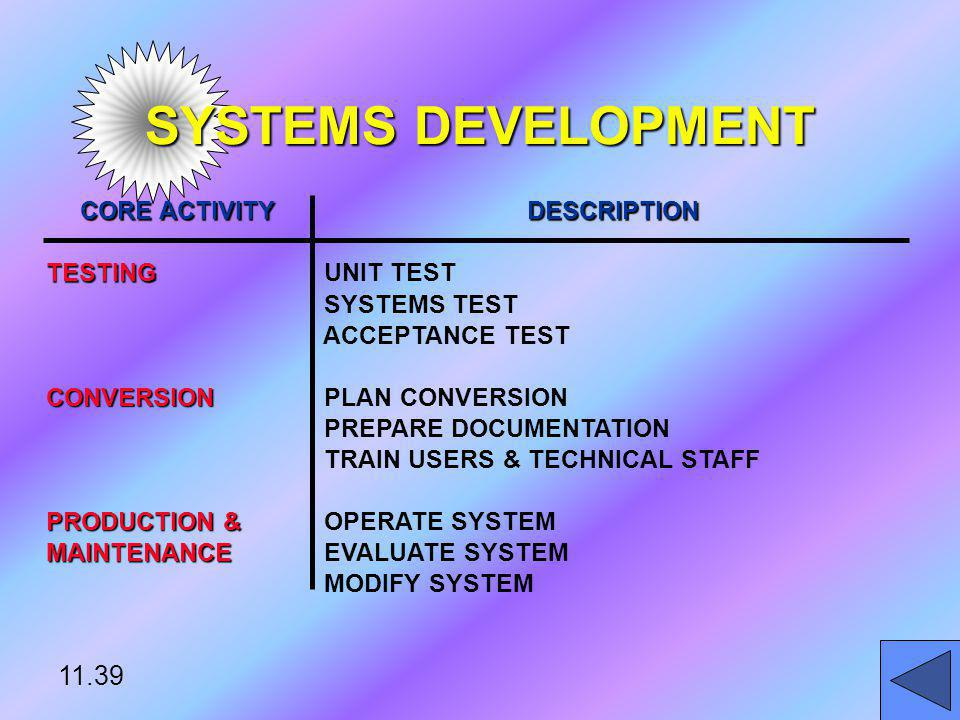 SYSTEMS DEVELOPMENT 11.39 CORE ACTIVITY DESCRIPTION TESTING UNIT TEST