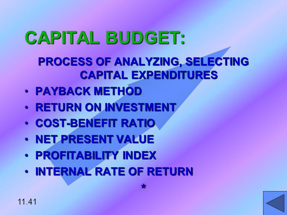 PROCESS OF ANALYZING, SELECTING CAPITAL EXPENDITURES