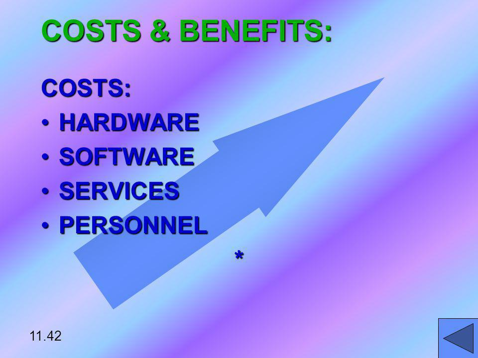 COSTS & BENEFITS: COSTS: HARDWARE SOFTWARE SERVICES PERSONNEL * 11.42