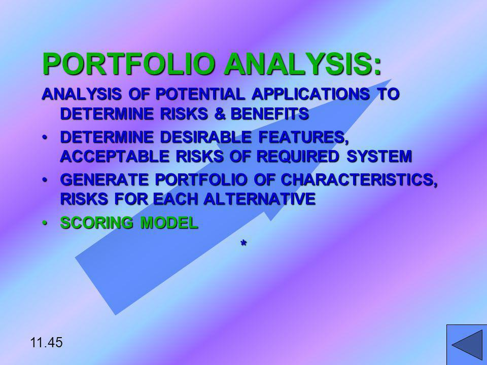 PORTFOLIO ANALYSIS: ANALYSIS OF POTENTIAL APPLICATIONS TO DETERMINE RISKS & BENEFITS.