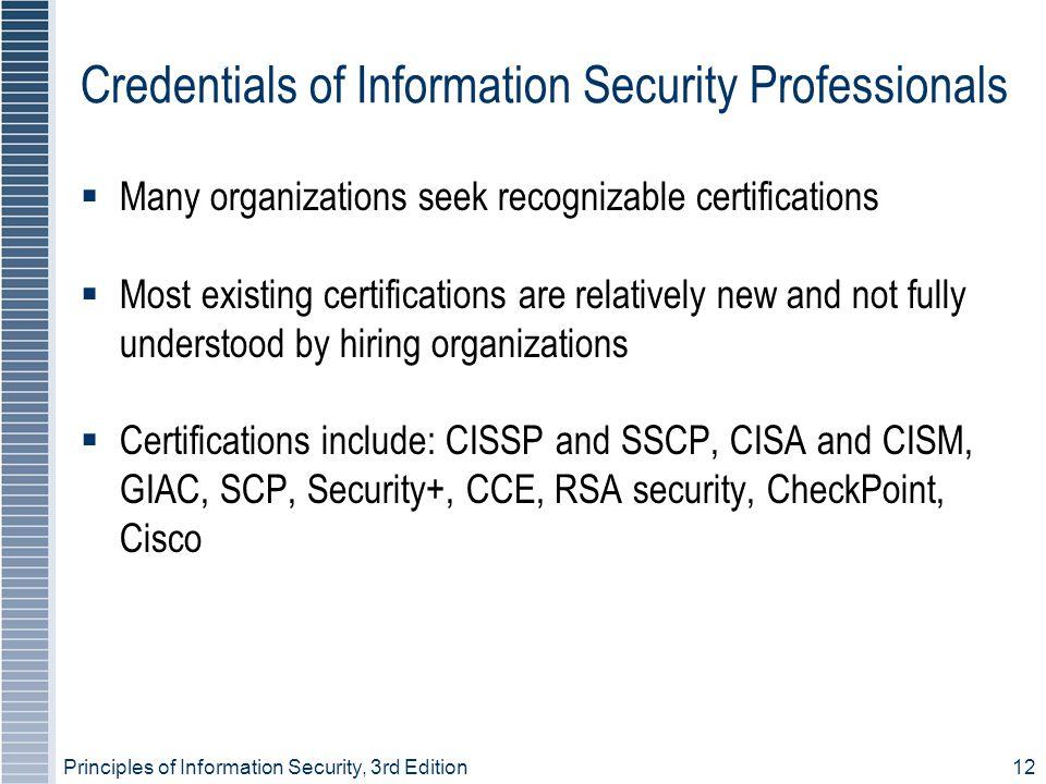 Credentials of Information Security Professionals