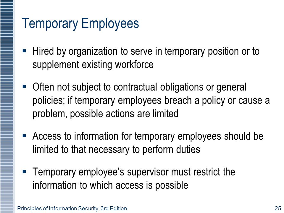 Temporary Employees Hired by organization to serve in temporary position or to supplement existing workforce.