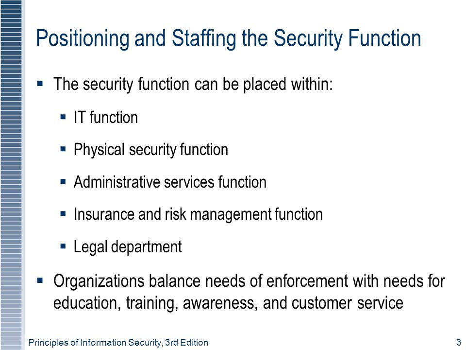 Positioning and Staffing the Security Function