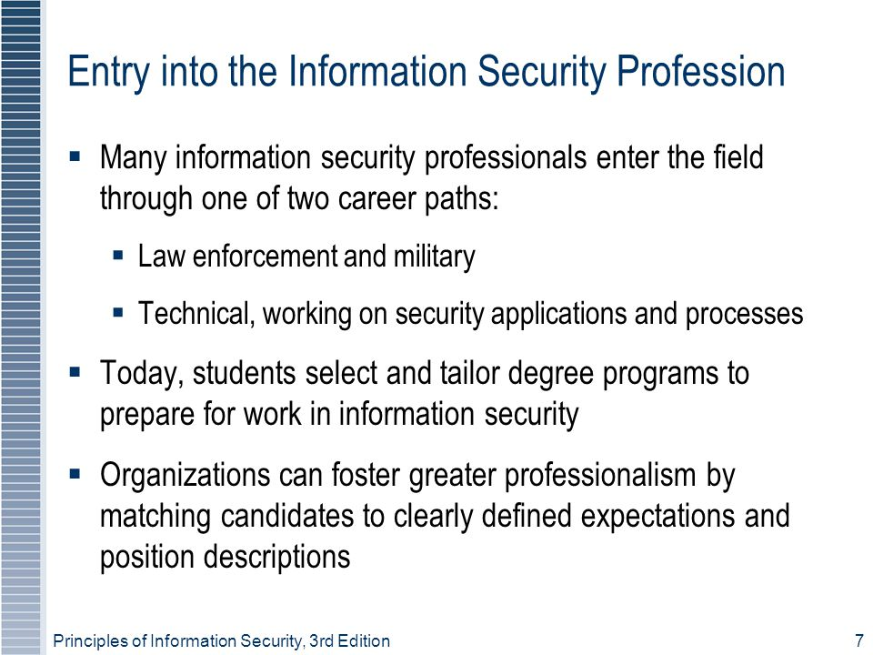 Entry into the Information Security Profession