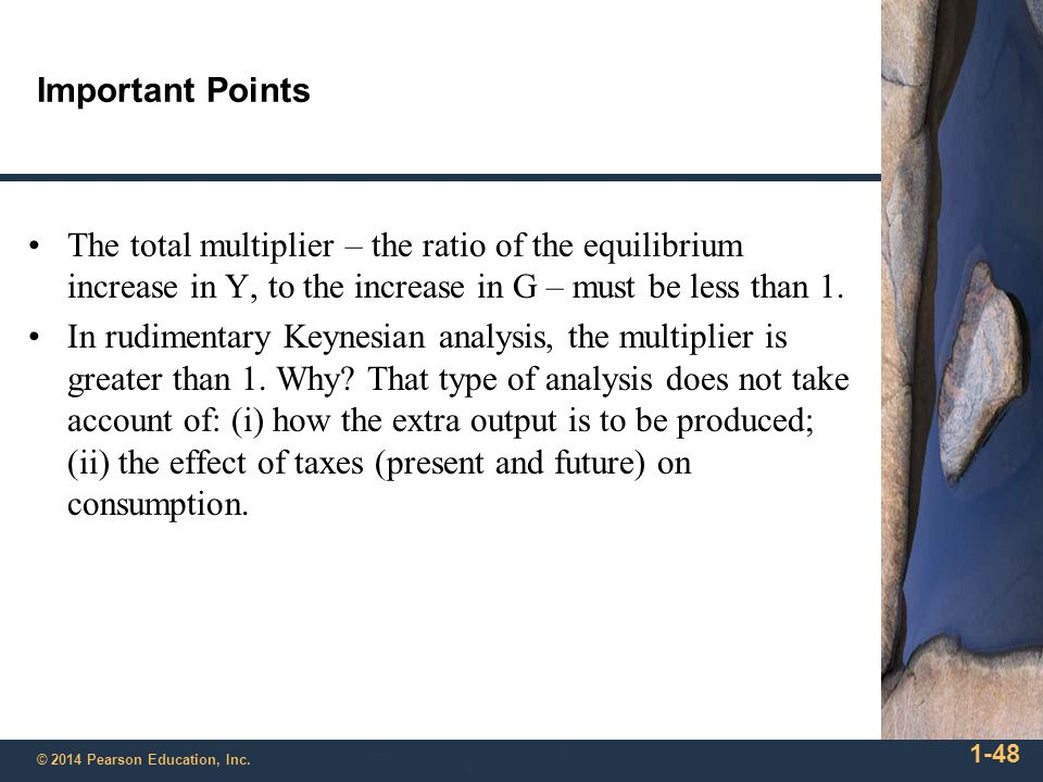 Important Points The total multiplier – the ratio of the equilibrium increase in Y, to the increase in G – must be less than 1.