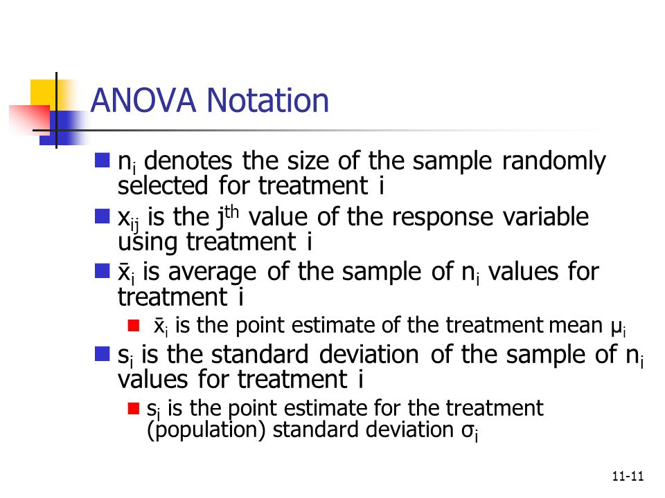 ANOVA Notation ni denotes the size of the sample randomly selected for treatment i. xij is the jth value of the response variable using treatment i.