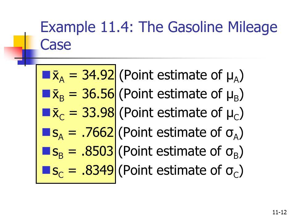 Example 11.4: The Gasoline Mileage Case