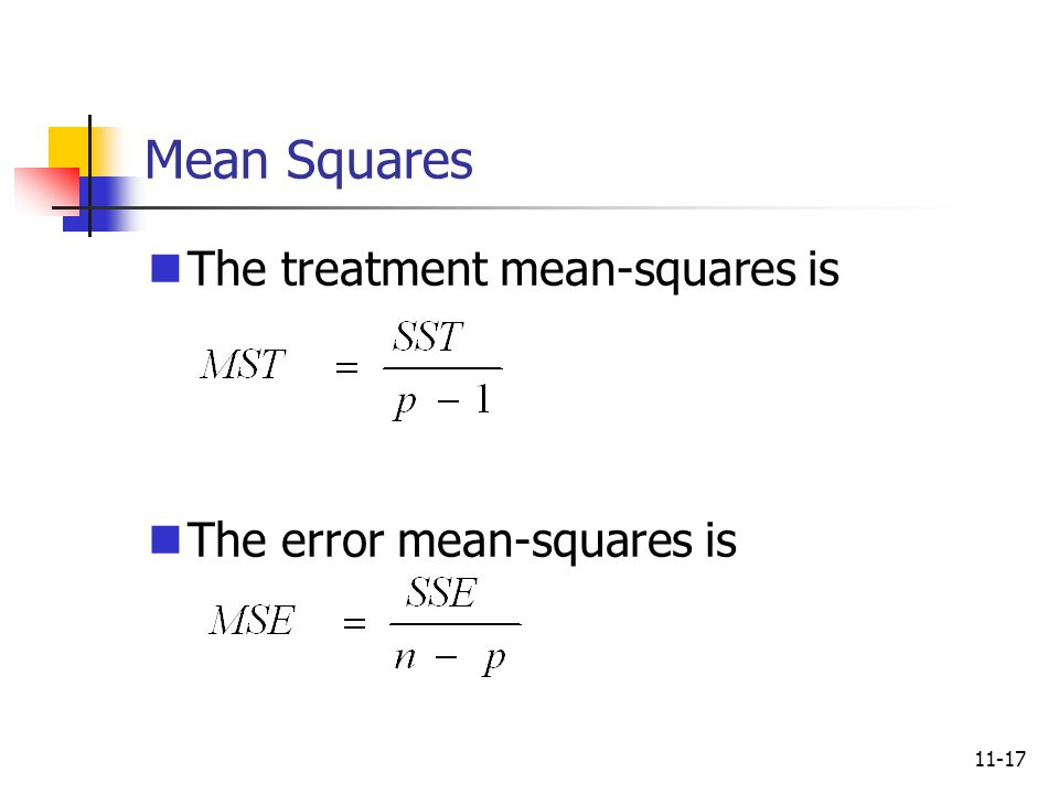 Mean Squares The treatment mean-squares is The error mean-squares is