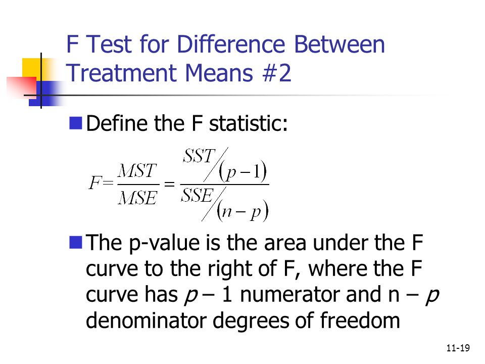 F Test for Difference Between Treatment Means #2