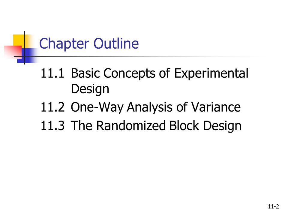 Chapter Outline 11.1 Basic Concepts of Experimental Design