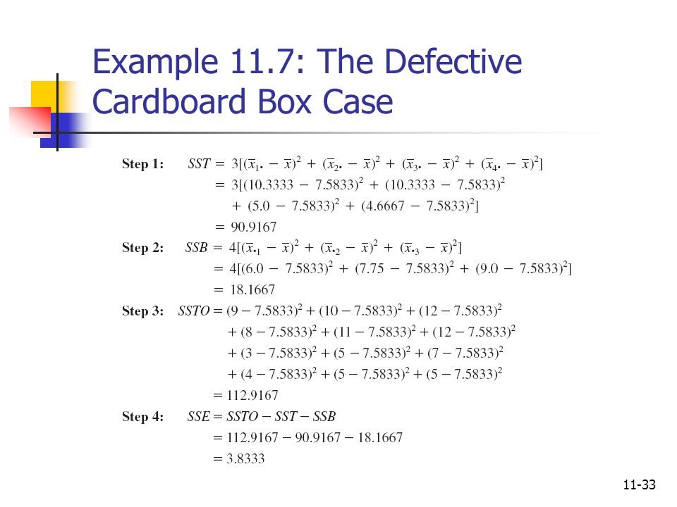 Example 11.7: The Defective Cardboard Box Case