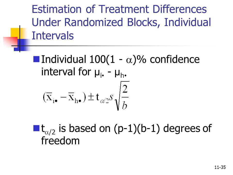 Estimation of Treatment Differences Under Randomized Blocks, Individual Intervals