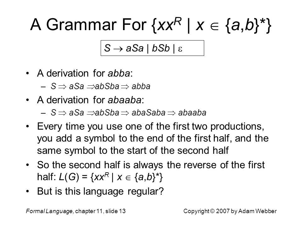 A Grammar For {xxR | x  {a,b}*}